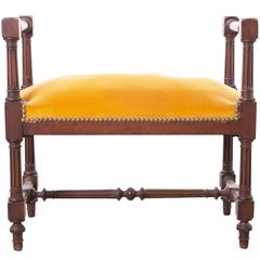 French 19th Century Mahogany Louis XVI Style Upholstered Stool