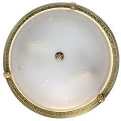 Six Vaughan Regency Style Greek Key Brass Glass Flush Mount Ceiling Lights