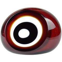 Vistosi Murano Red White Black Bullseye Italian Art Glass Paperweight