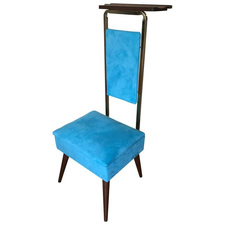 Charming Mid Century Modern Valet Butlers Chair In Turquoise Fabric 1