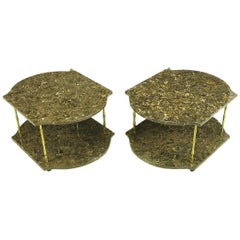 Pair of Italian Marble and Brass End Tables