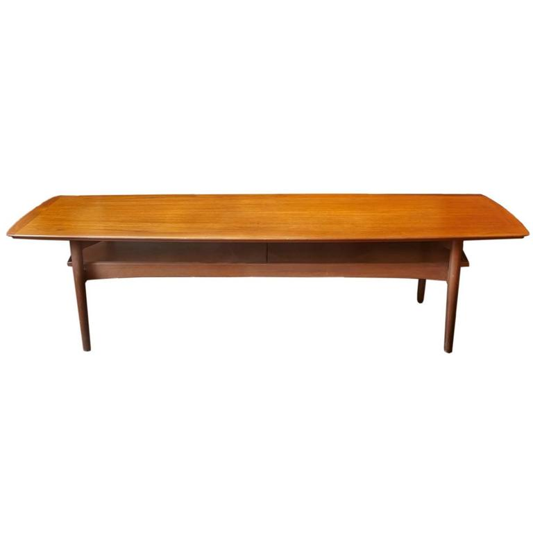 Elegant Mid Century Modern Danish Teak Coffee Table With Pull Out Trays At 1stdibs