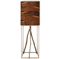 Woodsport Handcrafted Jewelry Cabinet of Figured Walnut and Cast Bronze