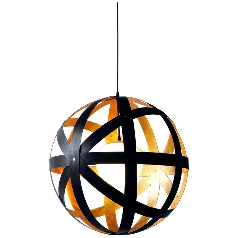 Meridian 30 Black Stained Walnut and Gold Leaf Pendant