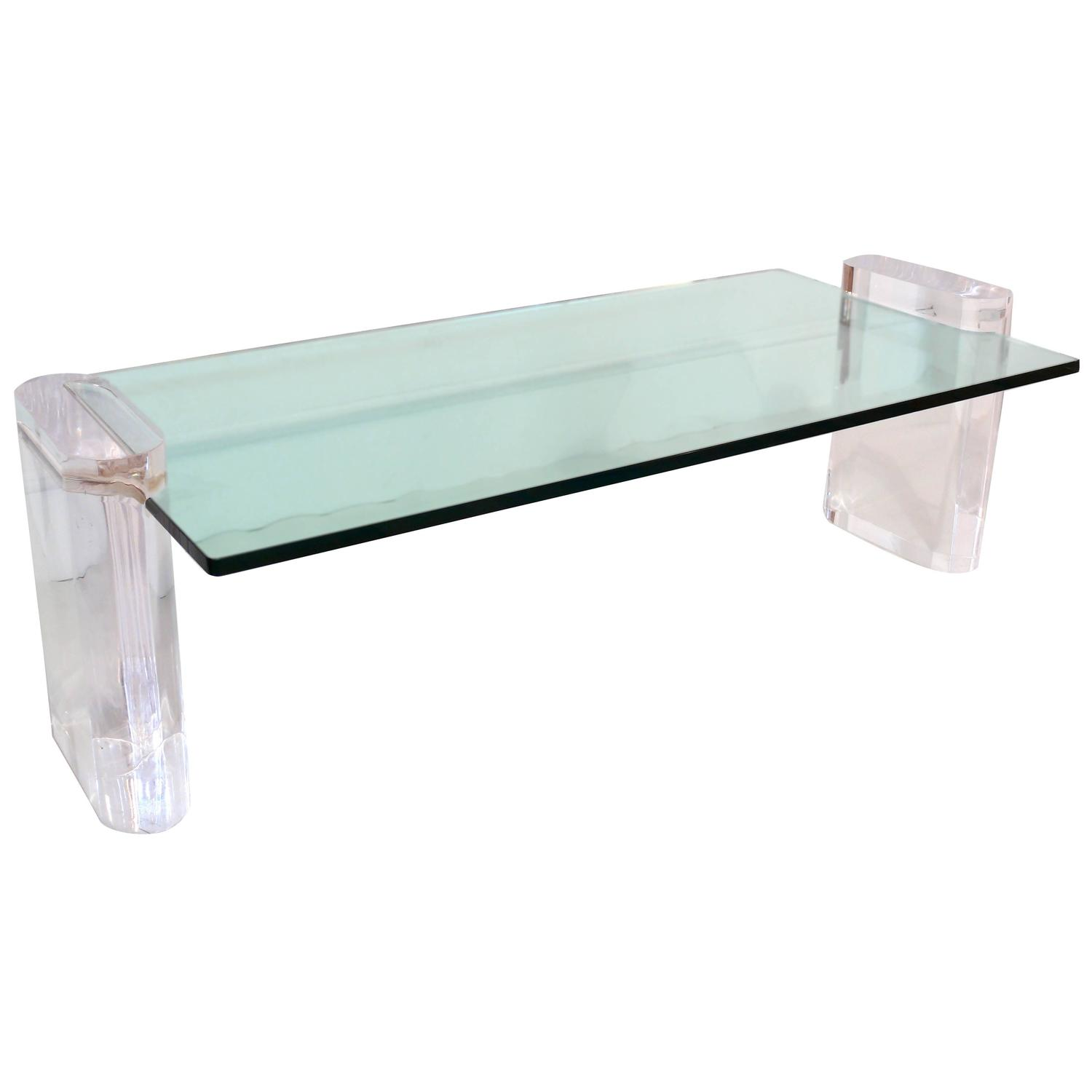 Lucite and glass coffee table for sale at 1stdibs for Acrylic coffee tables for sale