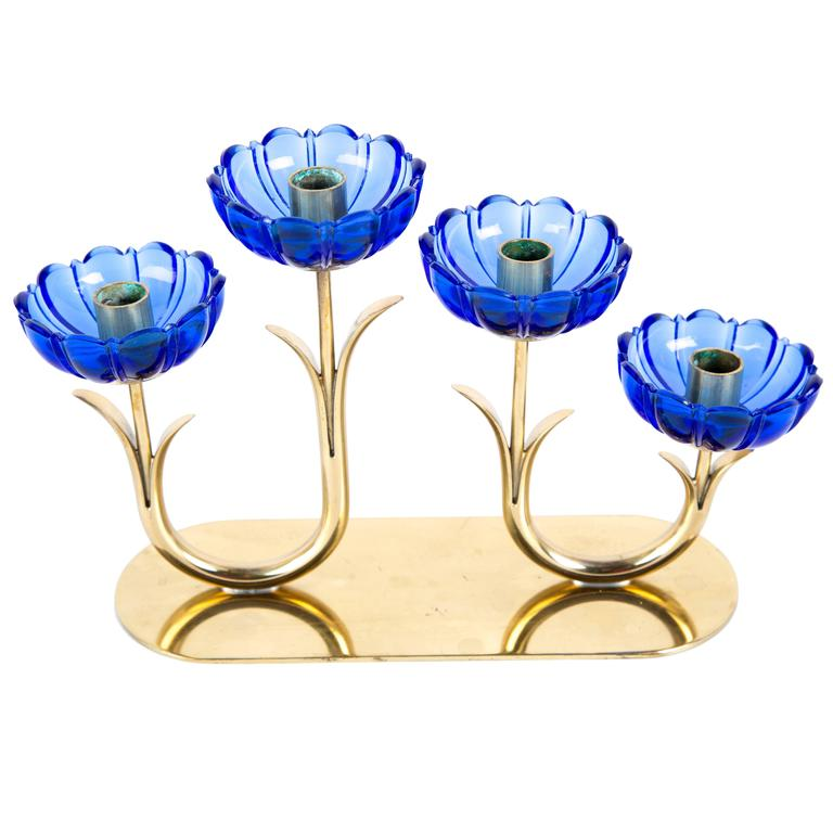 GUNNAR ANDER BLUE CANDLE HOLDER.  Art Glass Flower Set in Brass Sweden