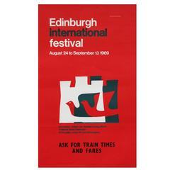 1960s Red Edinburgh International Festival Poster Pop Art Design