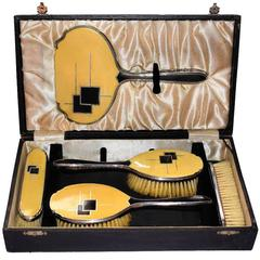 Rare Ladies 1930s Art Deco Dressing Brush Box Set