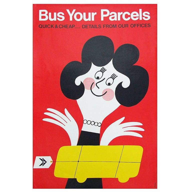 1960s British Bus Travel Poster by Harry Stevens Pop Art For Sale