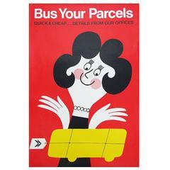 1960s British Bus Travel Poster by Harry Stevens Pop Art