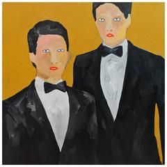 'The Hopefuls' Portrait Painting by Alan Fears Pop Art Bowties