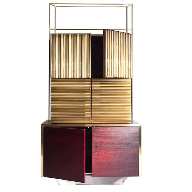 modern abundance sideboard in hand varnished walnut chrome and polished brass for sale at 1stdibs. Black Bedroom Furniture Sets. Home Design Ideas