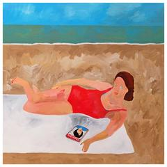 'Model Behaviour' Portrait Painting by Alan Fears Pop Art Fashion Beach