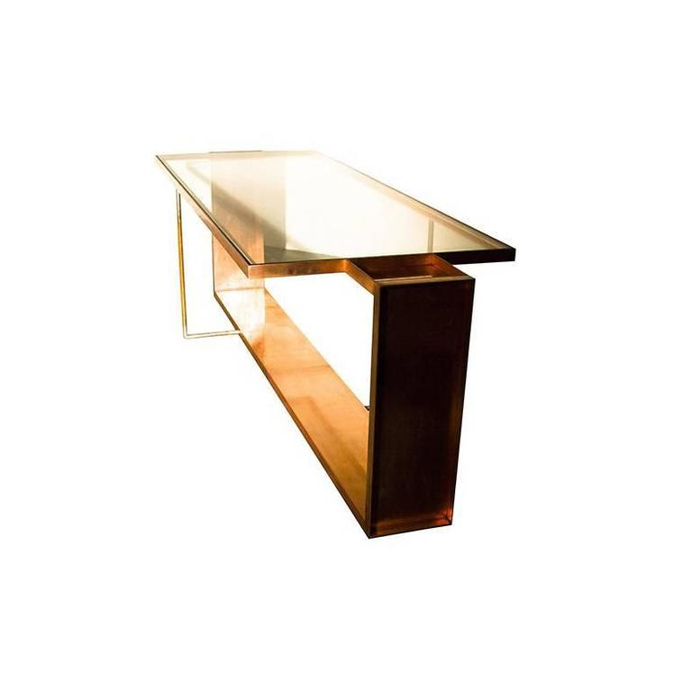 Long Lay Copper-Plated Steel and Crystal Glass Top Dining Table