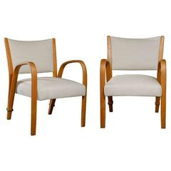 Pair of French Retro Art Deco Upholstered Chairs in Warm Brown and White Color