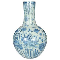 Chinese Blue and White Gooseneck Jar with Fish