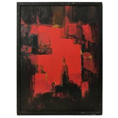 Mid-Century Abstract Painting in Black, Red and Ochre