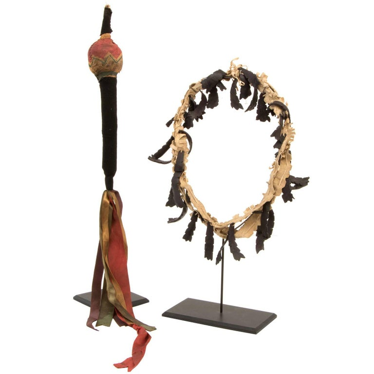 Pair of Rare Antique Native American Dance Objects, Plains, 19th Century