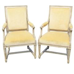 Pair of Louis XVI Style Distressed Painted Fauteuils