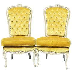 Pair of Louis XVI Style Distressed Painted Tufted Slipper Chairs