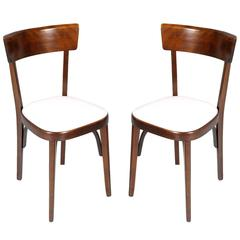 Pair of Chairs Bistrot Baumann in Massive Bent Walnut Robust and Elegant
