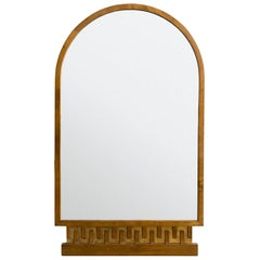 Scandinavian Modern, Art Deco Stained and Giltwood Meander Mirror