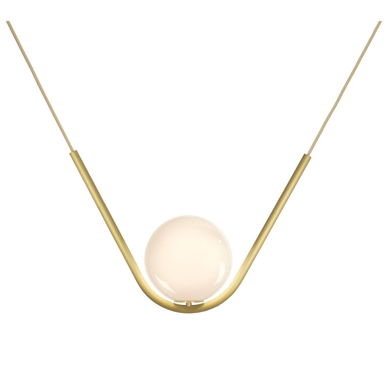 Perle 1 Pendant in Aged Brass with Handblown Glass Ball by Larose Guyon For Sale
