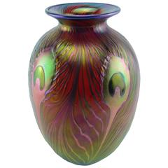 Charles Lotton Peacock Feather Studio Art Glass Red Gold Vase