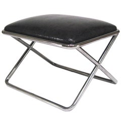 Ward Bennett Style Chrome and Leather X-Base Stool