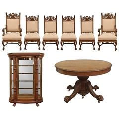 Ornately Carved Oak Dining Room Set with Table, Chairs and Curio Cabinet