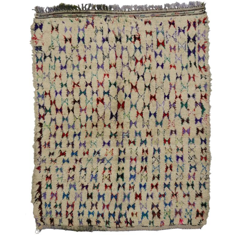 Vintage Berber Moroccan Azilal Rug with Abstract Tribal Design 1