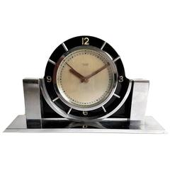 Art Deco Modernist ImHof Eight Day Alarm Clock in Black Celluloid and Chrome