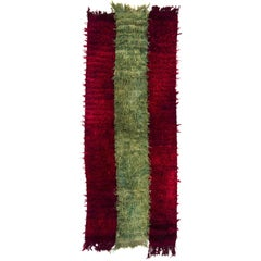 "Vintage ""Filikli"" Tulu Rug Made of Mohair 'Angora Wool', Red and Green Colors"