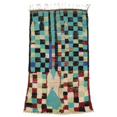 Vintage Berber Moroccan Rug with Postmodern Cubism and Bauhaus Style