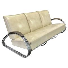 Rare Original KEM Weber Streamline Art Deco Tripple Band Sofa
