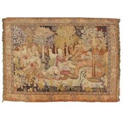European Tapestry from 19th Century, France Depicting Abundant Woodland Scene