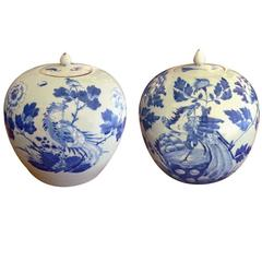 Antique Matching Pair of Chinese Blue and White Porcelain Jars/Urns