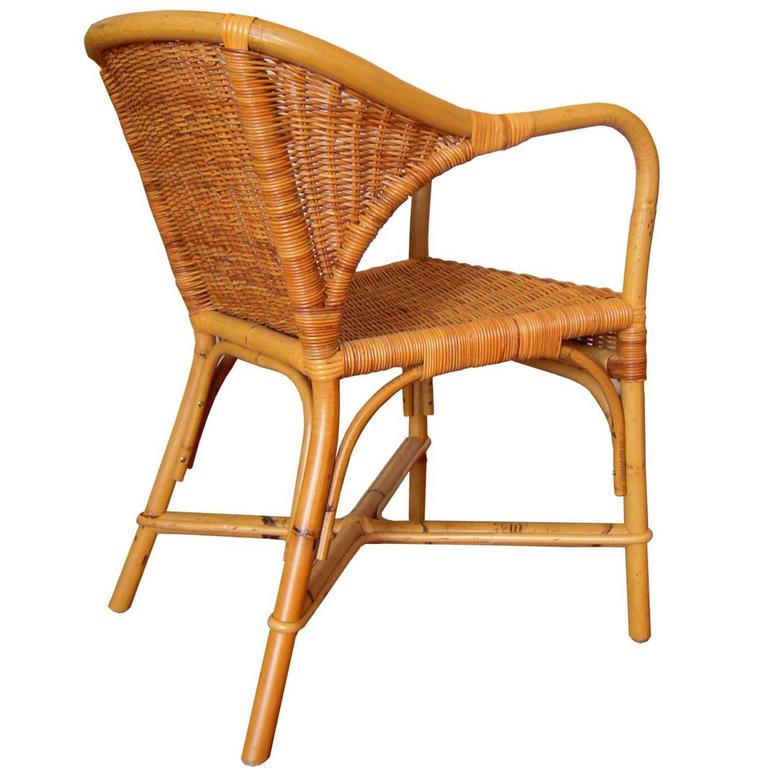 Set of 4 Vintage Wicker Wingback Chairs by Gae Aulenti / Late 20th Century Italy