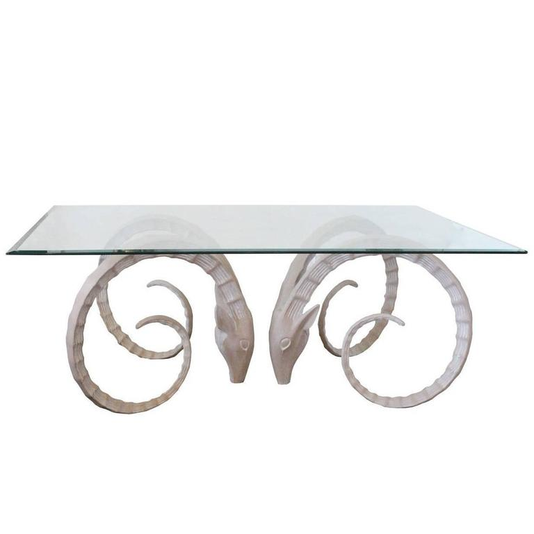 Sculptural Ibex Gazelle or Ram's Head Dining Table Bases