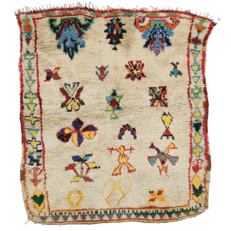 Vintage Berber Moroccan Rug with Modern Tribal Design 1