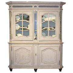 French 1890s Provençal Painted Wood Buffet à Deux-Corps with Glass Doors
