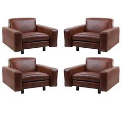 Four Metropolitan Leather and Bronze Lounge Chairs