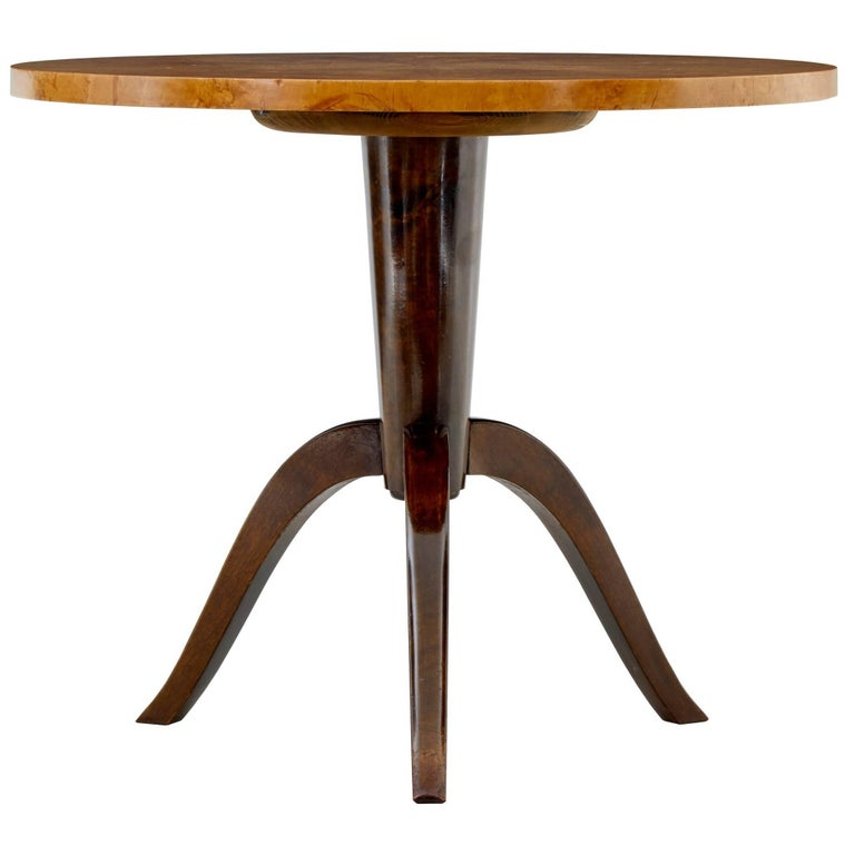 1950s Later Deco Swedish Birch Occasional Table For Sale