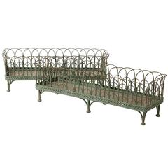 Pair of French Wrought Iron and Wirework Jardinieres, circa 1850