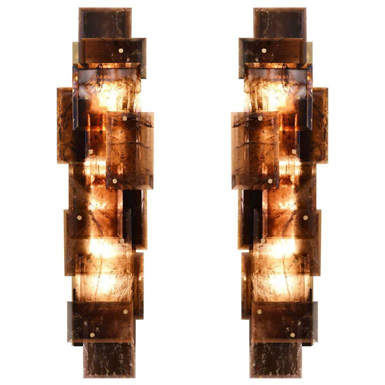Pair of Modern Smoky Brown Rock Crystal Quartz Sconces 1