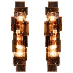 Pair of Modern Smoky Brown Rock Crystal Quartz Sconces