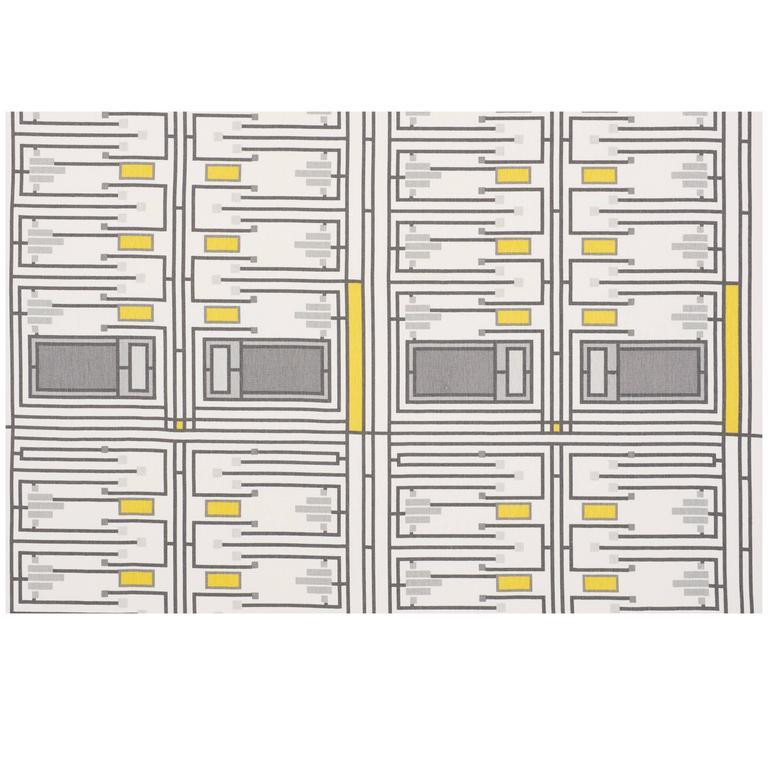 Schumacher Frank Lloyd Wright Schumacher Design 105 Grey Yellow Linen 4-Yd Panel