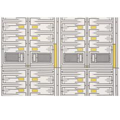 Mid-20th Century Frank Lloyd Wright Schumacher Grey Yellow Linen 4-Yard Panel