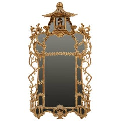 George III Chippendale Style Carved Giltwood Mirror, 19th Century