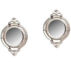Pair of Modern Style Carved Silver Wood Mirrors